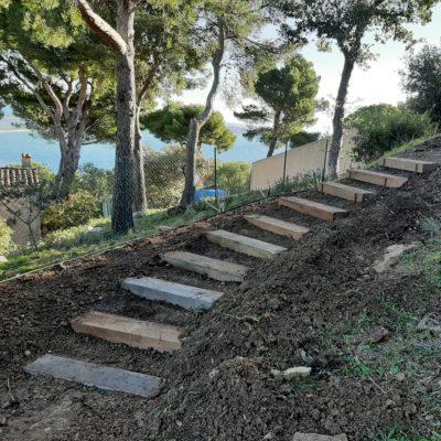 Création d'escaliers en traverses